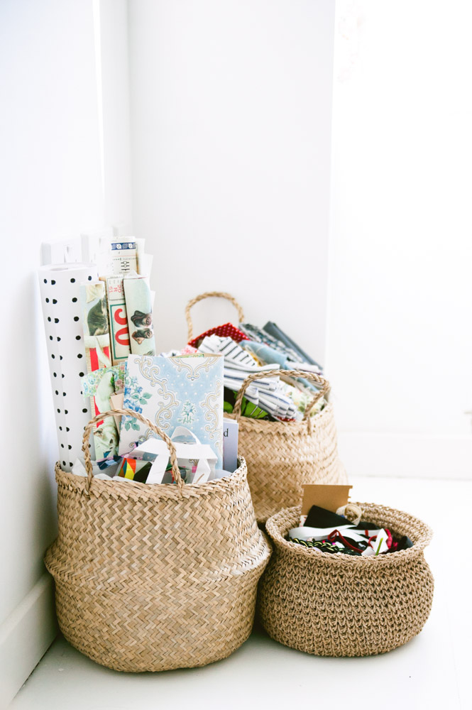 Baskets have found their way into almost every room of Katy and Jules' home as a way to organize anything from fabric to odds-and-ends.