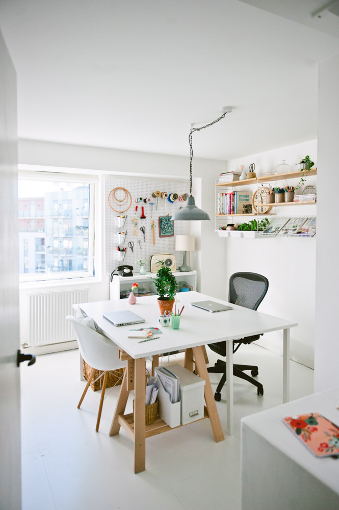"""When Jules and I started working from home we decided to change the guest room into a home office,"" says Katy. ""We could no longer justify using a whole room for guests who may or may not come to stay once a month or so."""