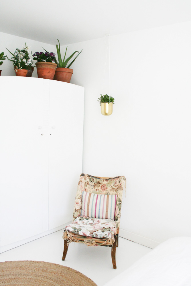 """The chair used to belong to my grandmother and it was in her guest room. It's falling to pieces now but I can't bring myself to reupholster it as it's covered in beautiful 1950s Sanderson fabric and it will lose all its special memories,"" says Katy."