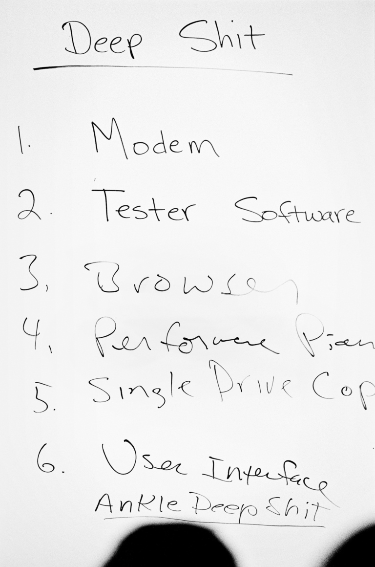 1987 A Steve Jobs to-do list made at an off-site brainstorming session lists a set of technical challenges remaining for his team to solve. While building the NeXT computer, Steve wanted to meet the challenge that Nobel laureate Paul Berg had set: to build an affordable workstation for education that had more than one megabyte of memory, a megapixel display and a megaflop of computing speed to allow a million floating-point operations per second. IMAGE: DOUG MENUEZ/CONTOUR BY GETTY IMAGES