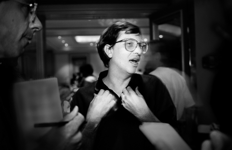 "1992 Microsoft CEO Bill Gates discusses cheap content for the masses and debates with reporters about the long delayed ""vaporware"" upgrade to Windows at the Agenda '92 Conference. The conference was hosted by the irreverent pundit Stuart Alsop, who showed Gates no mercy. IMAGE: DOUG MENUEZ/CONTOUR BY GETTY IMAGES"