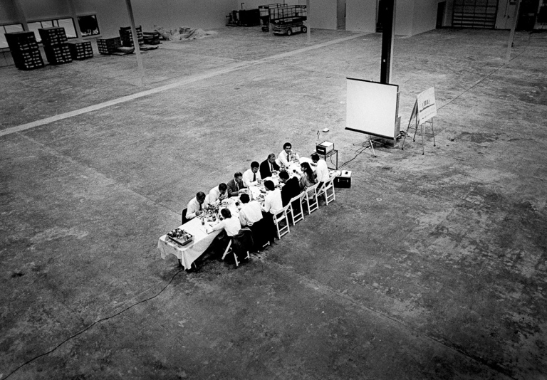 1986 Steve Jobs was a consummate showman who understood the power of compelling settings, like this lunch pitch on the site of the future NeXT Factory with the NeXT board of directors. Ross Perot was blown away, and invested over $20 million in NeXT after this meeting. He later said it was the worst mistake he ever made.  IMAGE: DOUG MENUEZ/CONTOUR BY GETTY IMAGES