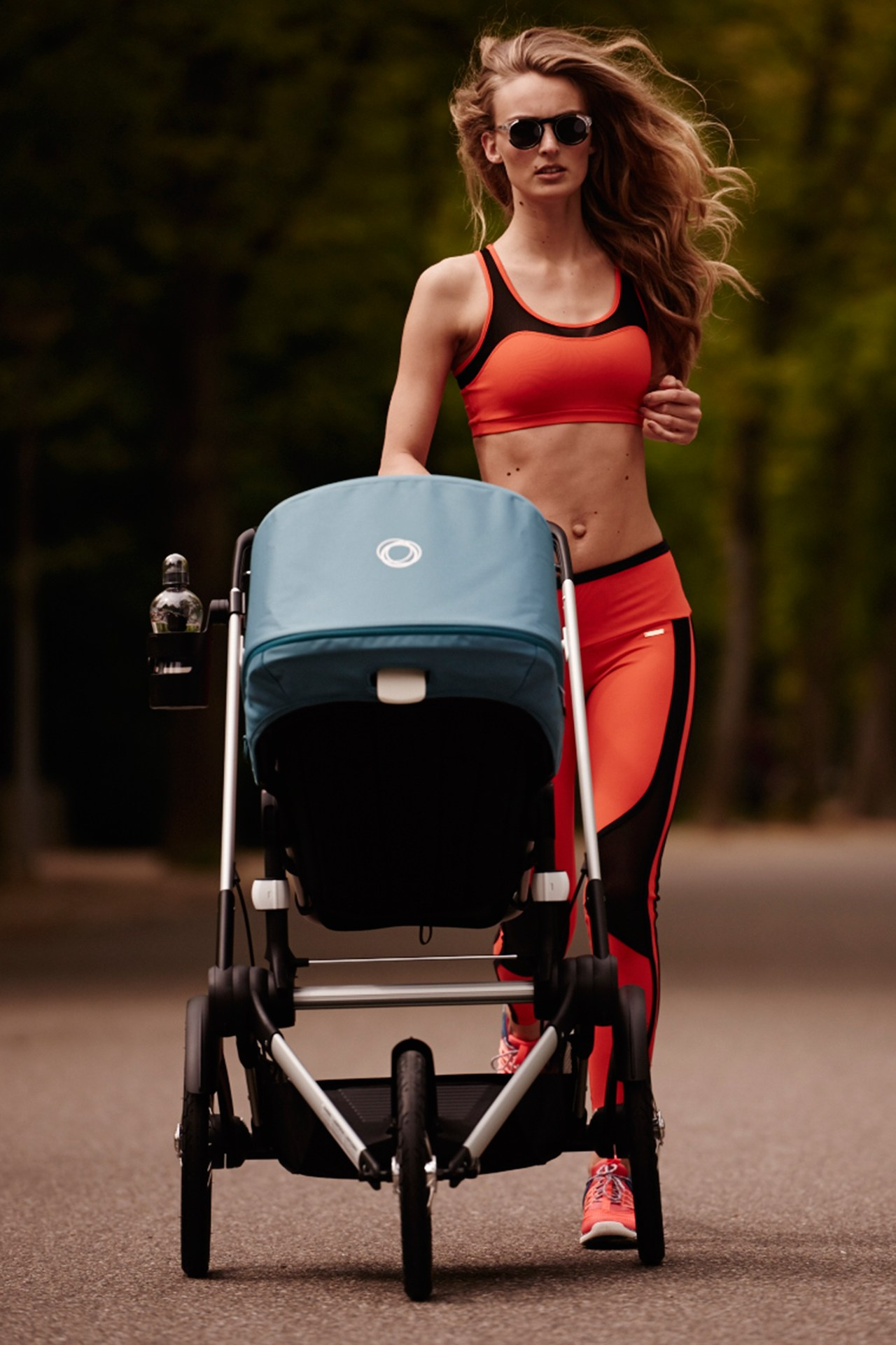 Ymre Stiekema with her running stroller Picture credit: Duy Vo/Vogue Netherlands/Bugaboo