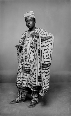 Portrait of man in Agbada, the Yoruba word for a free flowing wide-sleeved robe. (Chief Solomon Osagie Alonge, Ideal Photo Studio, Benin City, Nigeria)