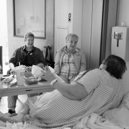 Carol had two heart attacks in prison. Her friends, Kelly, left, and Tina visit her at Mount Sinai Medical Center in Long Island City where she receives treatment for heart disease.