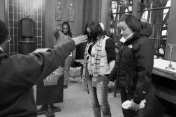 Keila at a religious retreat with other former prisoners in Brooklyn.
