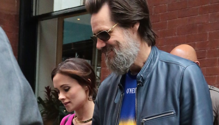 Jim Carrey and Cathriona White are spotted hand in hand leaving their hotel on May 21, 2015 in Manhattan, NY. Pictured: Jim Carrey and Cathriona White Ref: SPL1033746 210515 Picture by: NIGNY / Splash News Splash News and Pictures Los Angeles: 310-821-2666 New York: 212-619-2666 London: 870-934-2666 photodesk@splashnews.com