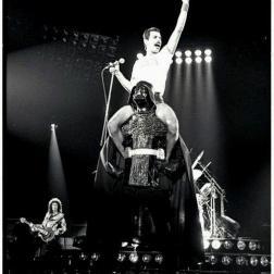 Freddie Mercury owning it on the shoulders of Vader!!