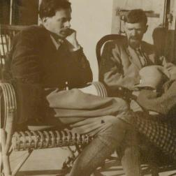 Aldous Huxley; D.H. Lawrence possibly by Lady Ottoline Morrell, vintage snapshot print, 1928 © National Portrait Gallery, London