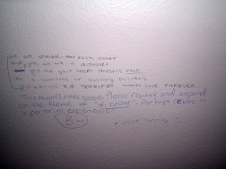 Graffitiing on toilet cubicle walls.