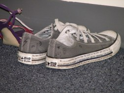 Drawing on the rubber of your Converse. Bonus points if you wrote meaningful emo song lyrics on them.
