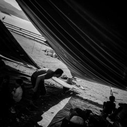 Refugees under the tents at Oxy Camp in Molyvos, Greece. Several camps are set up on the Greek Island of Lesbos for the hundreds of refugees arriving daily. Patrick Witty for BuzzFeed News
