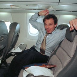 Former British Prime Minister Tony Blair looks like he had a good time on board.