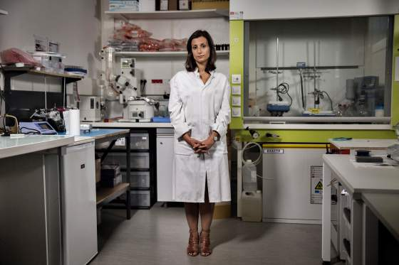 Maria Pereira, a Portuguese medical researcher who developed a glue that can be used in heart surgery, stands for a portrait at the Gecko Biomedical laboratory in Paris, France, on Sept. 1, 2015. Photo by Adam Ferguson for TIME