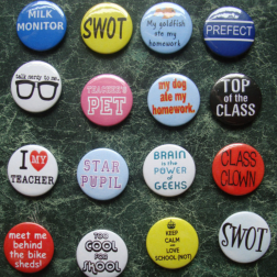 Covering everything you own in mini badges.