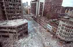 Wormwood Street in the city of London after the IRA detonated a truck bomb [April 24, 1993]