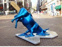 Melting Cow This cow is situated in Budapest downtown on Vorosmarty ter (square). Like a melting blue ice cream. Location: Budapest.