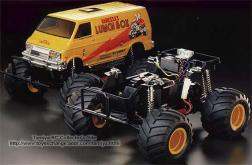 The Monster Van Lunch Box was kit number 63 from Tamiya. A 1/10 scale 2WD off-road car, it was designed as a fun wheelie vehicle