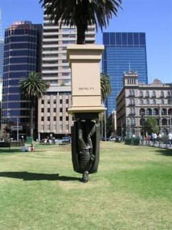 La Trobe is a contemporary representation of Charles La Trobe in central Melbourne. This temporary installation was removed at the end of June 2006 and has been acquired by La Trobe University. Location: Melbourne