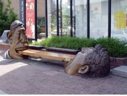 Eating a Biscuit Together Located in Seoul , Korea, in front of the Bukcheon Museum. Sculptor is Ku BomJu.