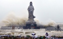 Waves from Typhoon Dujuan slam the coastline in Quanzhou, China.