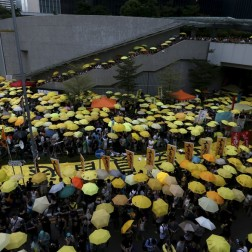 "More than one thousand pro-democracy protesters gather in Hong Kong, China, as part of the ""umbrella"" movement, which is demanding universal suffrage."