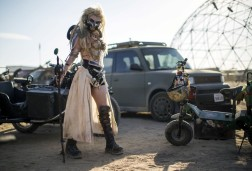 "A Mad Max enthusiast dressed as ""Immortan Joe,"" attends the Wasteland Weekend event in California City, California."