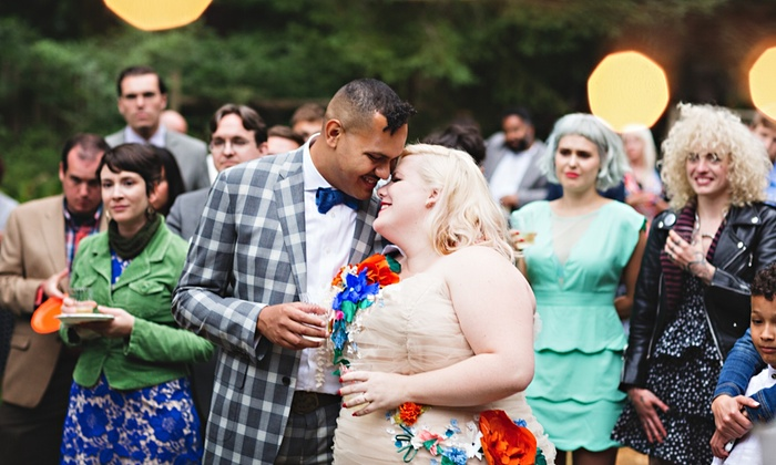 Our big day … Lindy West and Aham get married. Photograph: Jenny Jimenez/www.photojj.com