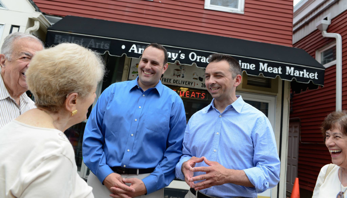 Cappola, right, speaks with voters along with running mate Mark DiPisa. (DiPisa and Cappola for Assembly)