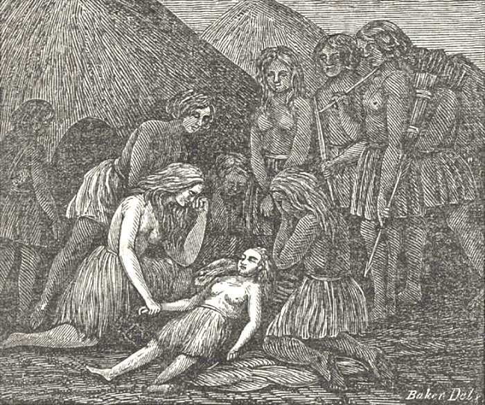 "1857 ""The Death of Mary Ann at the Indian Camp."" Olive is shown kneeling on the left. From Royal B. Stratton's ""Life Among the Indians: Being an interesting narrative of the captivity of the Oatman girls, among the Apache and Mohave Indians."" IMAGE: THE BANCROFT LIBRARY, BERKELEY"