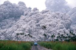 A pickup truck flees from the pyroclastic flows spewing from the Mt.Pinatubo volcano in the Philippines, on June 17, 1991. This was the second largest volcanic eruption of the 20th century.