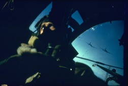 A B-17 Bombardier heading toward Germany during WWII. This is one of the few color photos taken from that era. [c. 1940's]