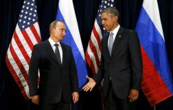 U.S. President Barack Obama awkwardly extends his hand to Russian President Vladimir Putin during the United Nations General Assembly in New York.