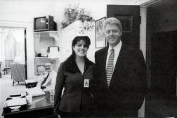 President Clinton poses with White House intern Monica Lewinsky, ever heard of her? [1995]