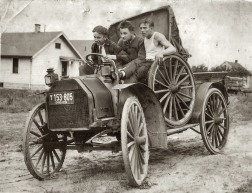 In 1924 Ohio, these young men were enjoying their brand new vehicle. It traveled a mind blowing 25 miles per hour.