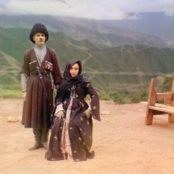 ca. 1907-1915 A couple in traditional dress poses for a portrait in the mountainous interior region of Gunib on the north slope of the Caucasus Mountains in what is today the Dagestan Republic of the Russian Federation. IMAGE: PROKUDIN-GORSKII / LIBRARY OF CONGRESS>