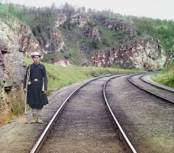 1910 A Bashkir switch operator by the main line of the railroad, near the town of Ust-Katav on the Yuryuzan River between Ufa and Chelyabinsk in the Ural Mountains of European Russia. IMAGE: PROKUDIN-GORSKII / LIBRARY OF CONGRESS>