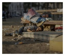 """Belgrad, Serbia. Abdullah has a blood disease. For the last two days, he has been sleeping outside of the central station in Belgrade. He saw the killing of his sister in their home in Daraa. """"He is still in shock and has nightmares every night,"""" says his mother. A bdullah is tired and is not healthy, but his mother does not have any money to buy medicine for him."""