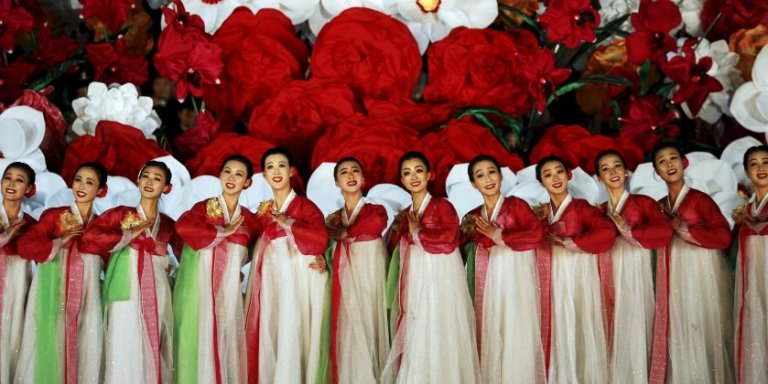 Performers dance during a gala show celebrating the 70th anniversary of the founding of the ruling Workers' Party of Korea, in Pyongyang, North Korea October 11, 2015.