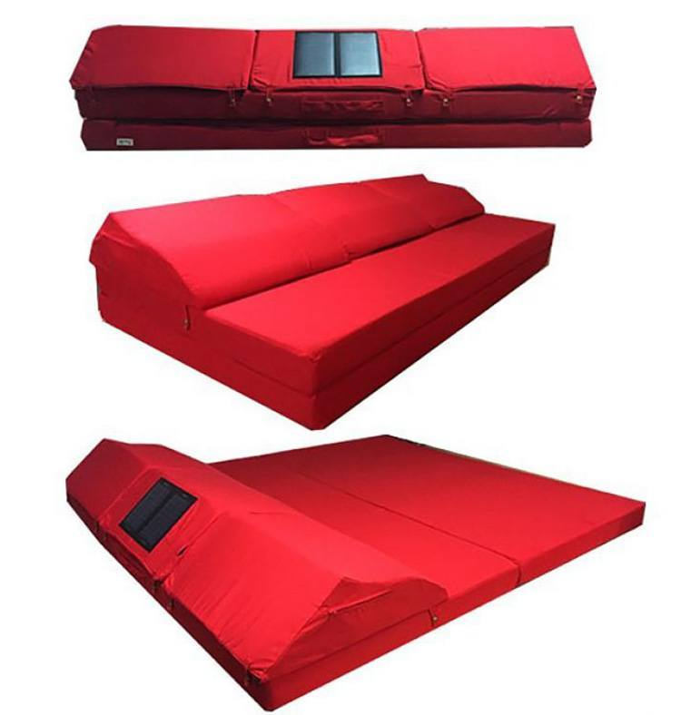 Sayah's team announced a bigger, customizable version that can be converted into a sofa or bed and features a 7-watt solar charger. Photo credit: Beachill Mattress / Instagram