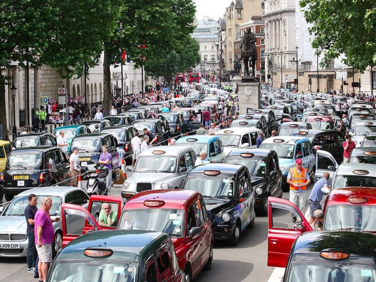 Getty Black cab drivers have previously taken to the streets of London to protest against Uber.