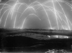 Trench Warfare captured by a British photographer during World War I. These are mortar rounds firing back and forth. [c. 1917]