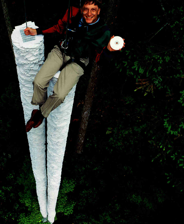 """This CD-ROM can hold more information than all the paper that's here below me"" – Bill Gates [1994]"