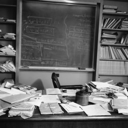 Albert Einstein's office in Princeton, New Jersey, the way he last left it. He would die later that night. [1955]